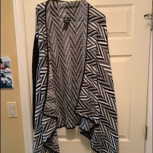 Black and white plus size waterfall cardigan